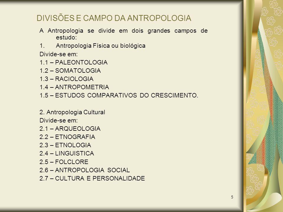 DIVISÕES E CAMPO DA ANTROPOLOGIA
