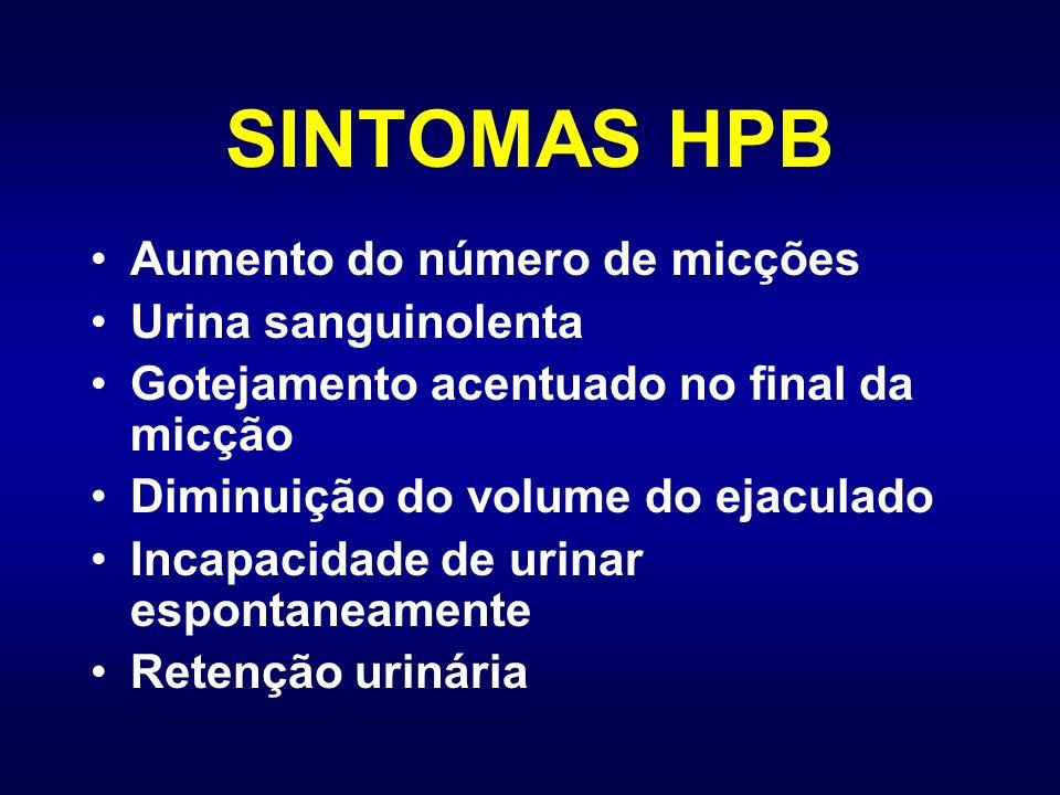 SINTOMAS HPB Aumento do número de micções Urina sanguinolenta