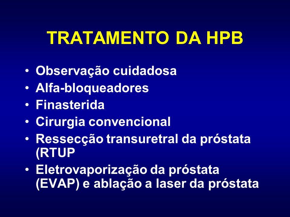 TRATAMENTO DA HPB Observação cuidadosa Alfa-bloqueadores Finasterida