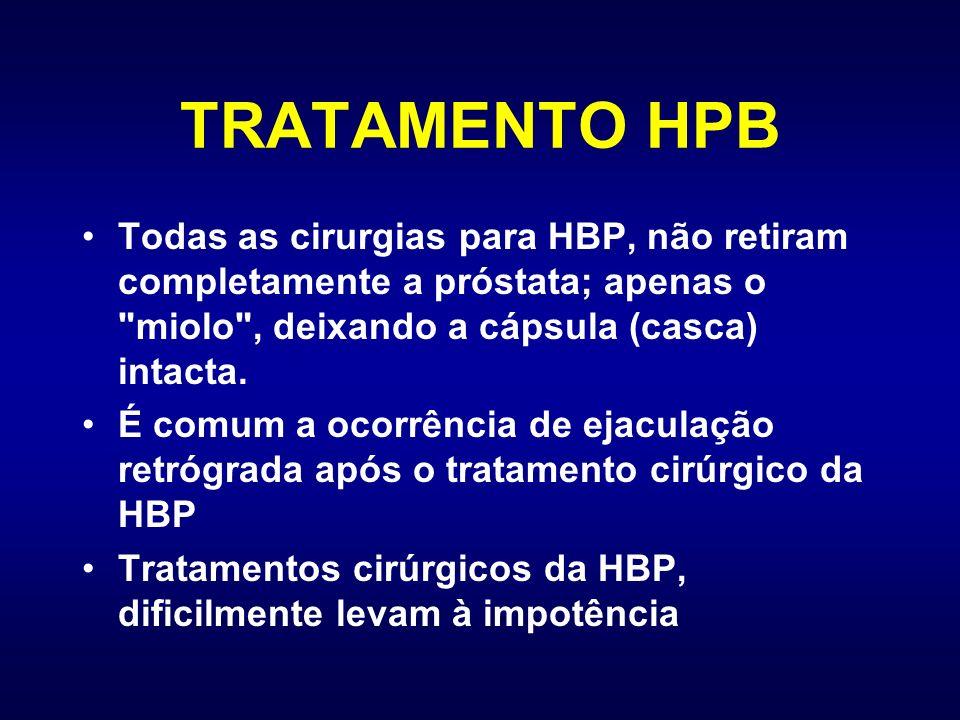 TRATAMENTO HPB Todas as cirurgias para HBP, não retiram completamente a próstata; apenas o miolo , deixando a cápsula (casca) intacta.