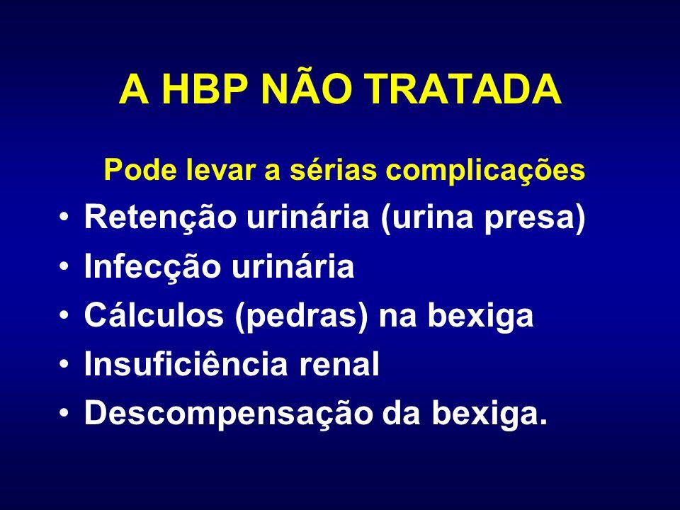 A HBP NÃO TRATADA Retenção urinária (urina presa) Infecção urinária