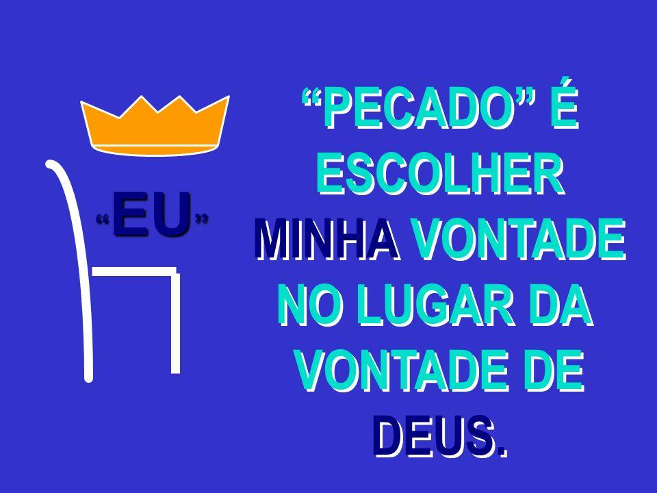 PECADO É ESCOLHER MINHA VONTADE NO LUGAR DA VONTADE DE DEUS.