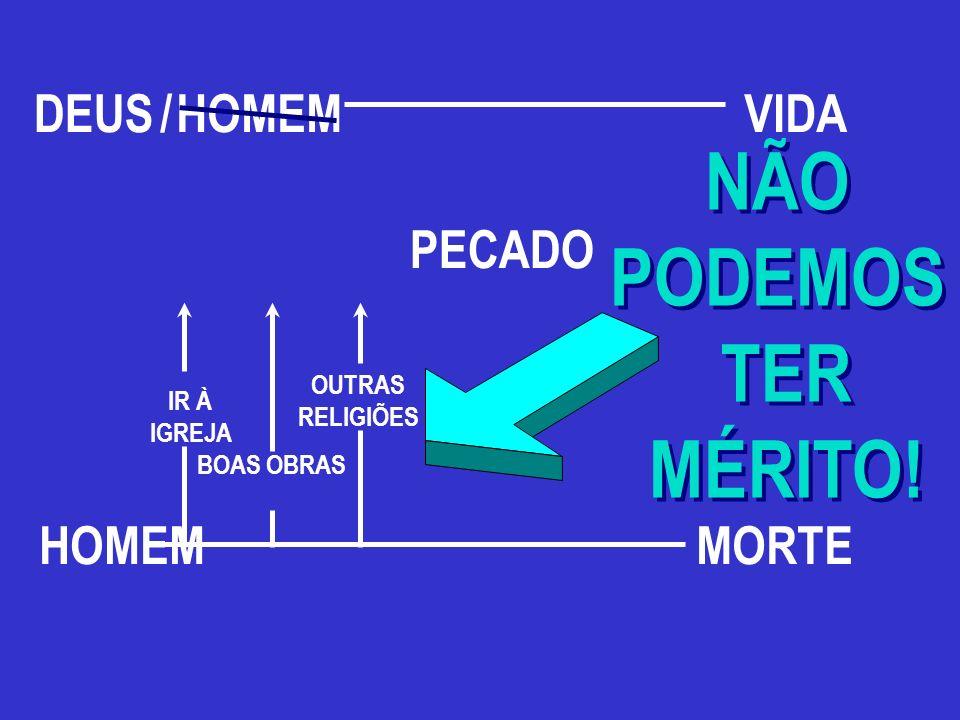 NÃO PODEMOS TER MÉRITO! DEUS / HOMEM VIDA PECADO HOMEM MORTE OUTRAS
