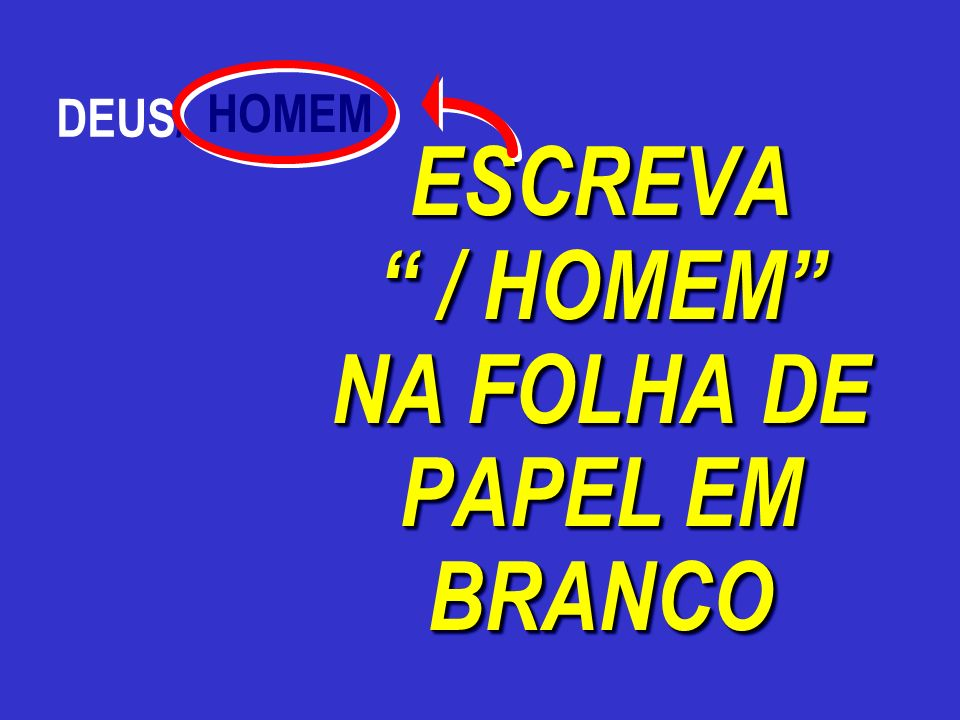 ESCREVA / HOMEM NA FOLHA DE PAPEL EM BRANCO