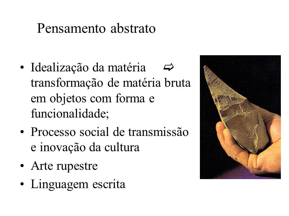Pensamento abstrato Idealização da matéria  transformação de matéria bruta em objetos com forma e funcionalidade;