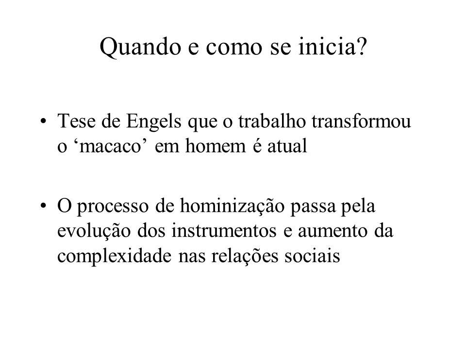 Quando e como se inicia Tese de Engels que o trabalho transformou o 'macaco' em homem é atual.