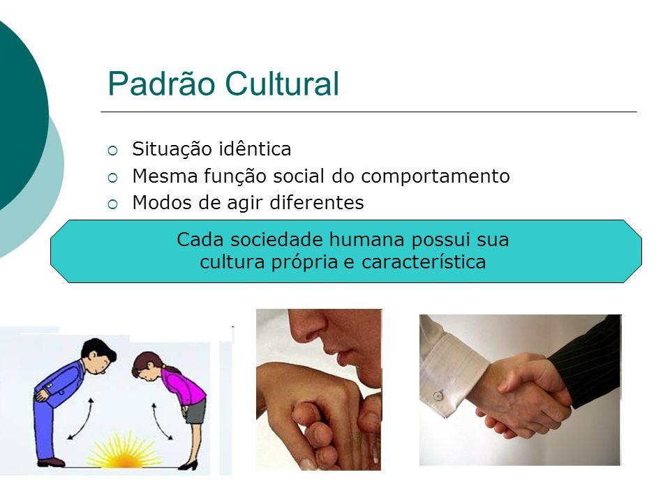 Padrão Cultural Situação idêntica Mesma função social do comportamento