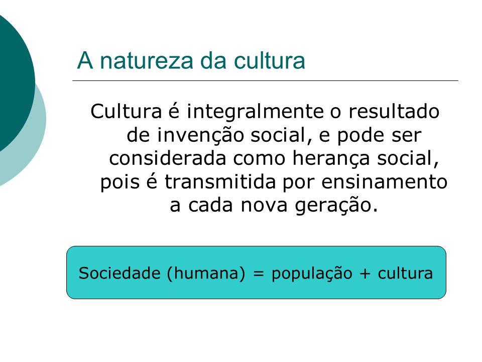 Sociedade (humana) = população + cultura