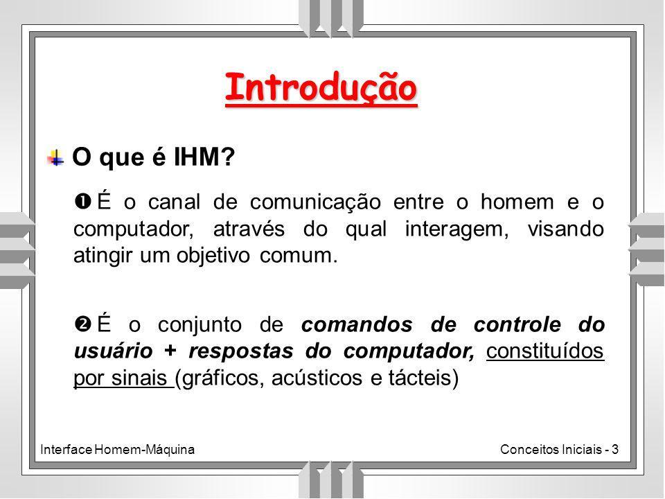 Introdução O que é IHM É o canal de comunicação entre o homem e o computador, através do qual interagem, visando atingir um objetivo comum.