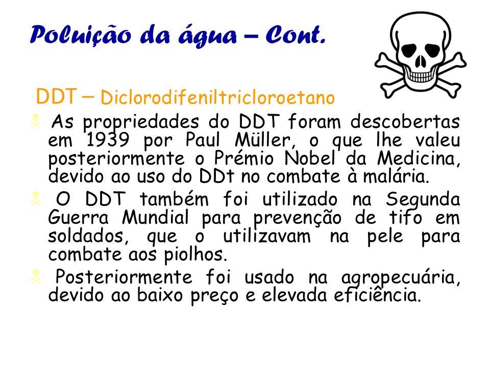 Poluição da água – Cont. DDT – Diclorodifeniltricloroetano