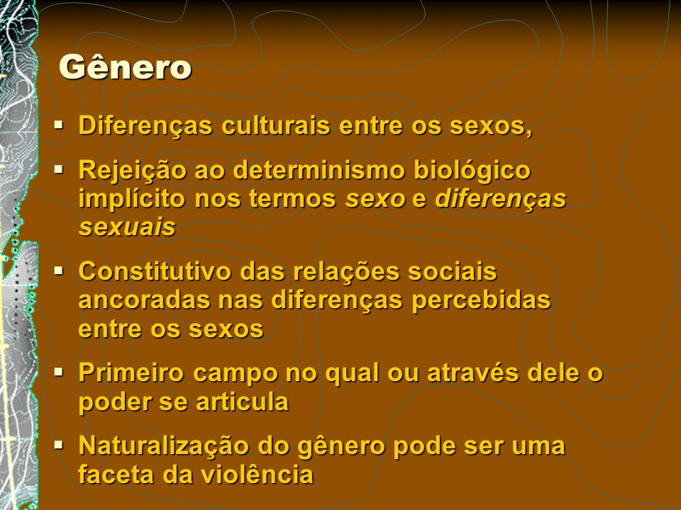 Gênero Diferenças culturais entre os sexos,