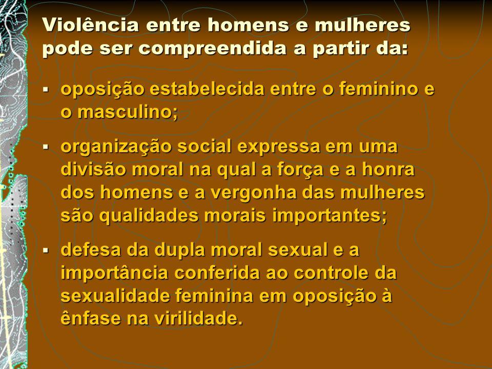 Violência entre homens e mulheres pode ser compreendida a partir da: