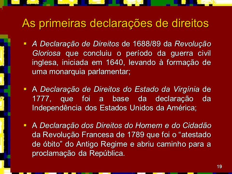 As primeiras declarações de direitos