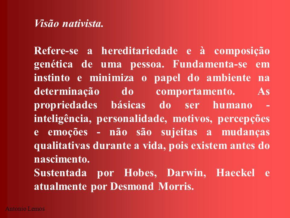 Sustentada por Hobes, Darwin, Haeckel e atualmente por Desmond Morris.