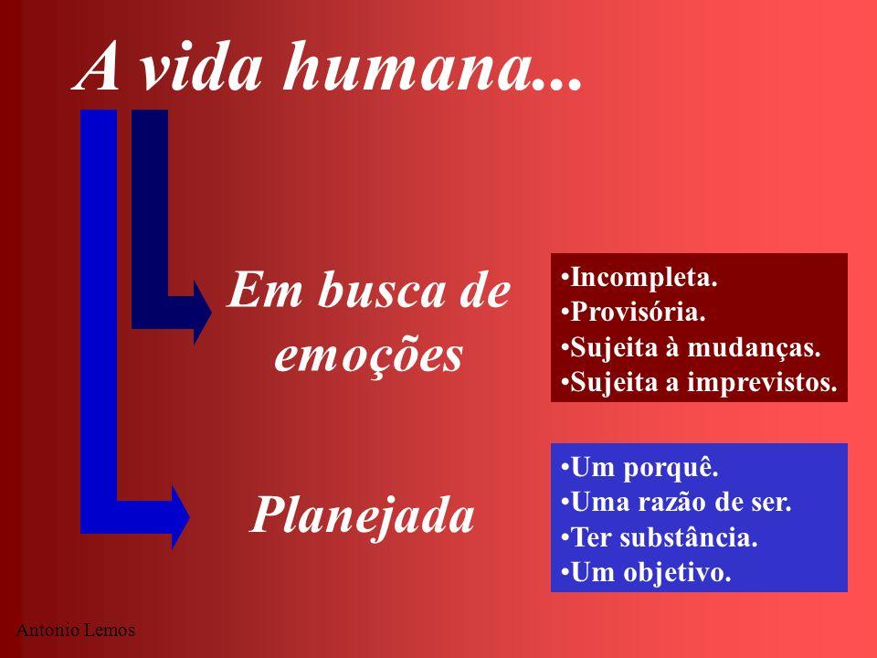 A vida humana... Em busca de emoções Planejada Incompleta. Provisória.