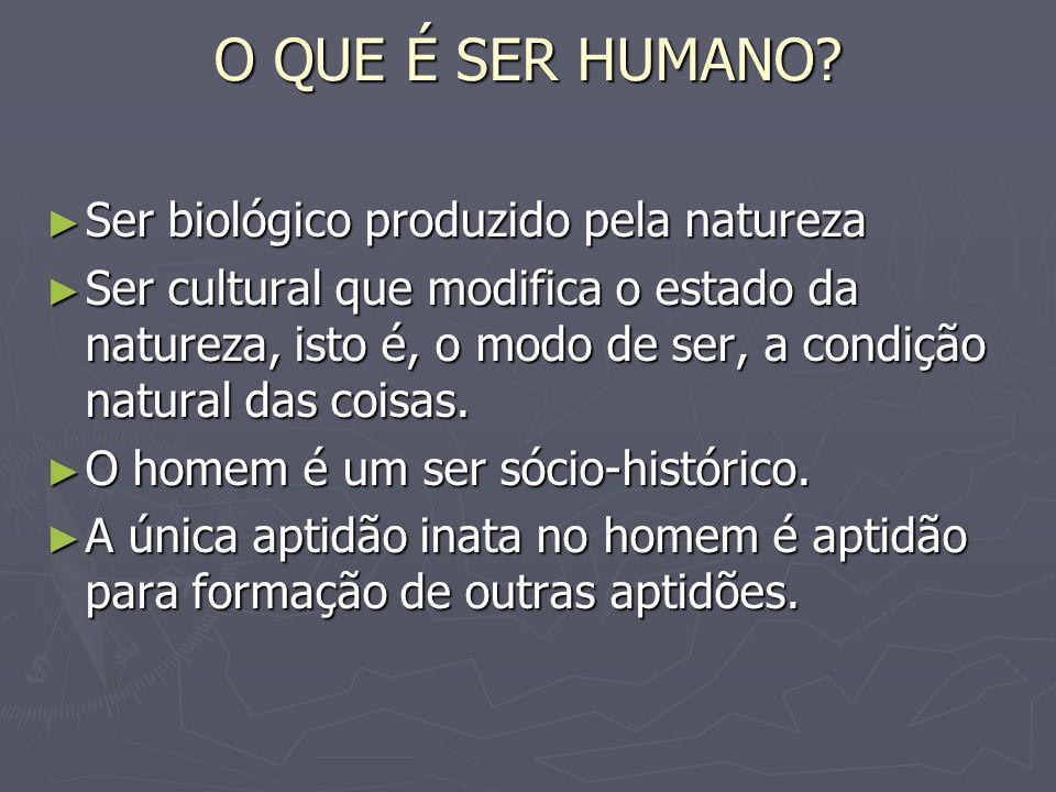 O QUE É SER HUMANO Ser biológico produzido pela natureza