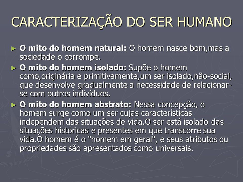 CARACTERIZAÇÃO DO SER HUMANO