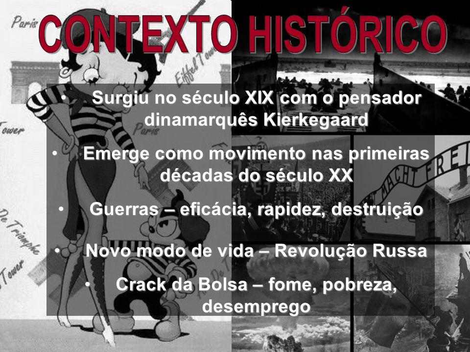 CONTEXTO HISTÓRICO Surgiu no século XIX com o pensador dinamarquês Kierkegaard. Emerge como movimento nas primeiras décadas do século XX.