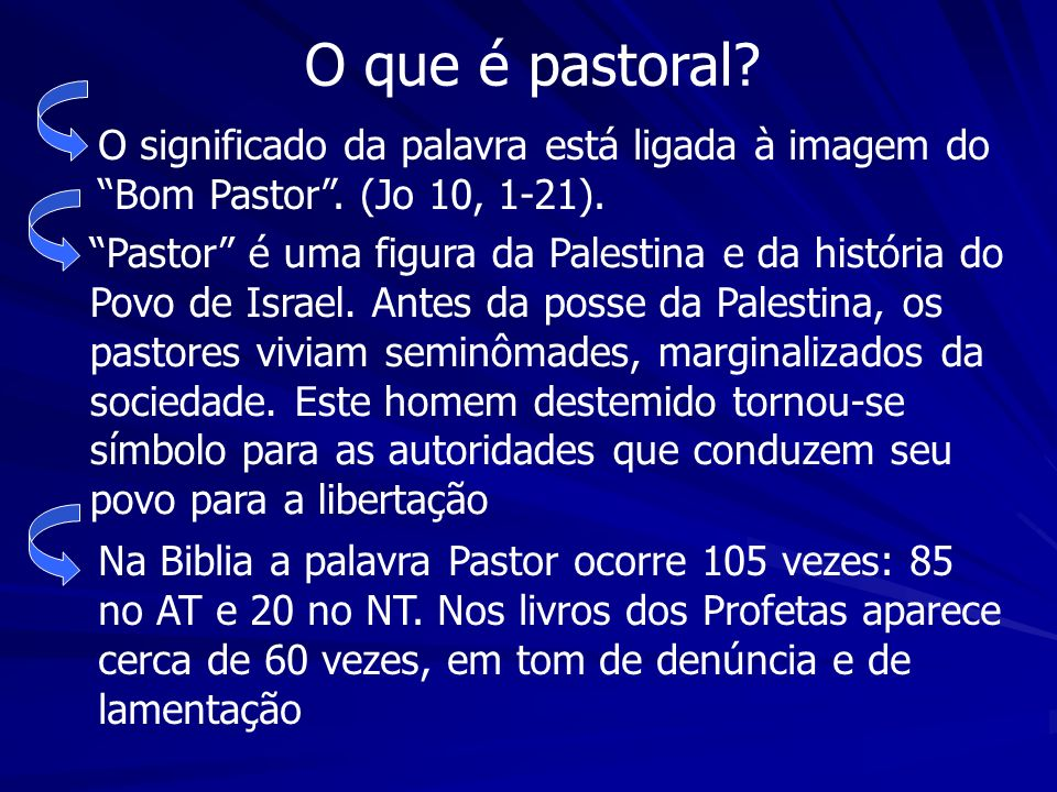 O que é pastoral O significado da palavra está ligada à imagem do Bom Pastor . (Jo 10, 1-21).