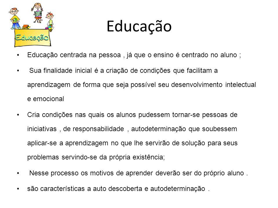 Educação Educação centrada na pessoa , já que o ensino é centrado no aluno ;