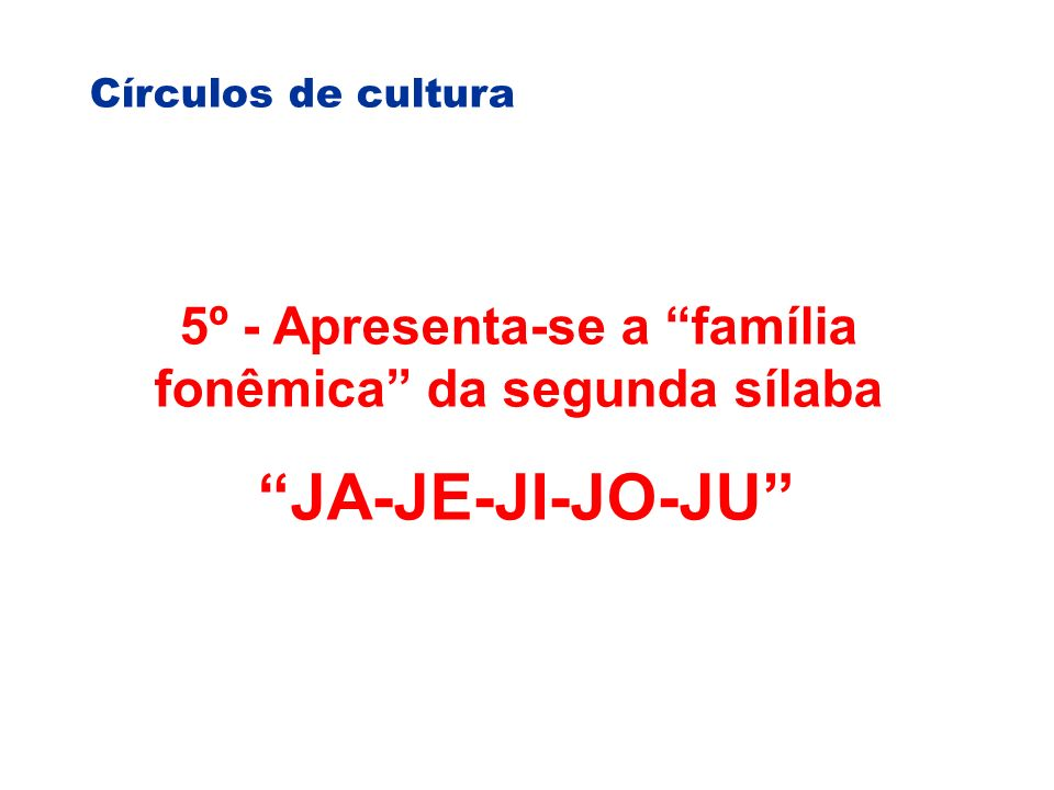 5º - Apresenta-se a família fonêmica da segunda sílaba