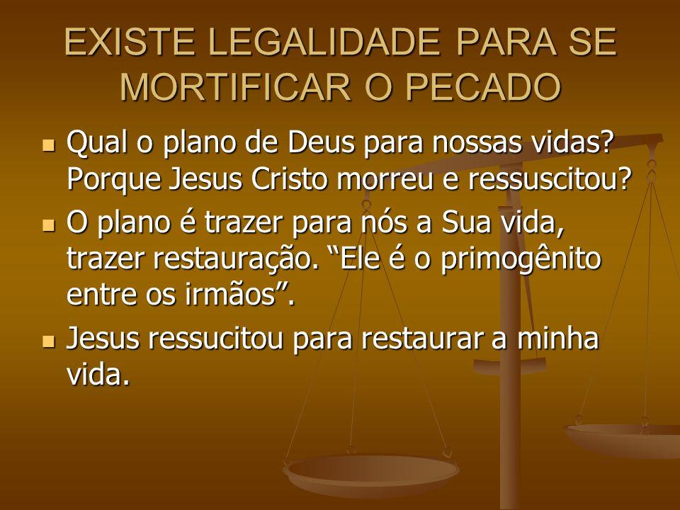 EXISTE LEGALIDADE PARA SE MORTIFICAR O PECADO
