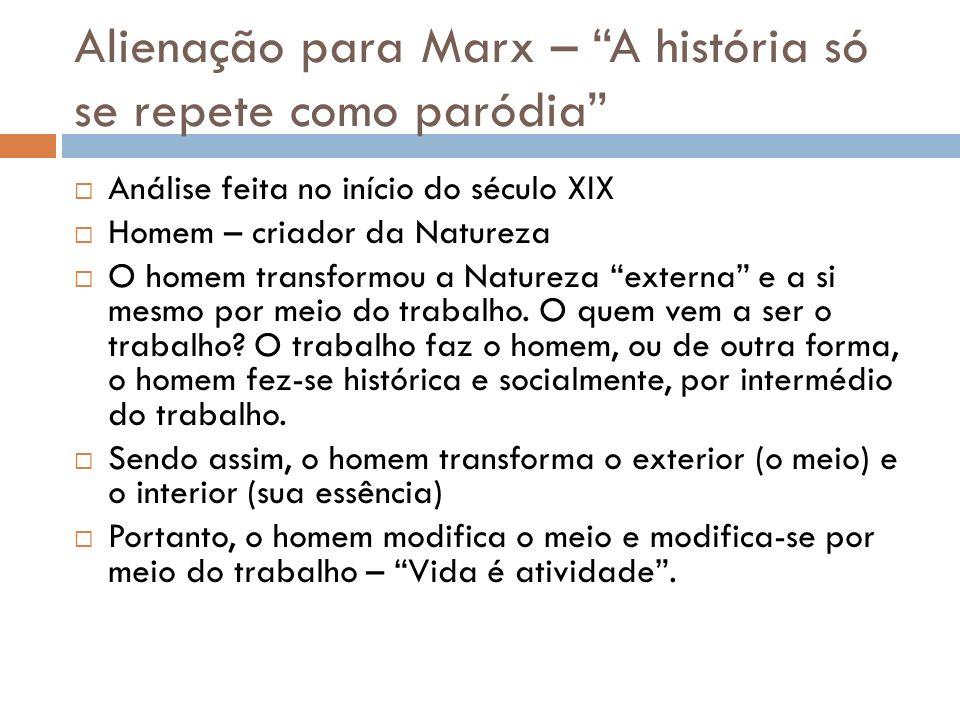 Alienação para Marx – A história só se repete como paródia