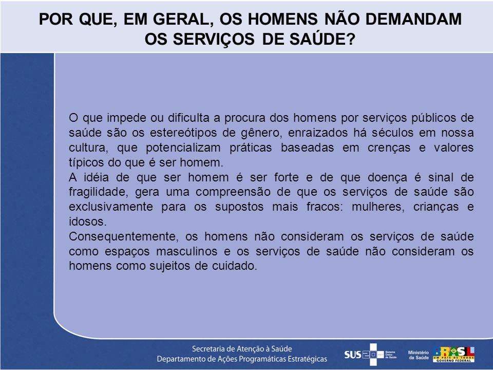 POR QUE, EM GERAL, OS HOMENS NÃO DEMANDAM OS SERVIÇOS DE SAÚDE