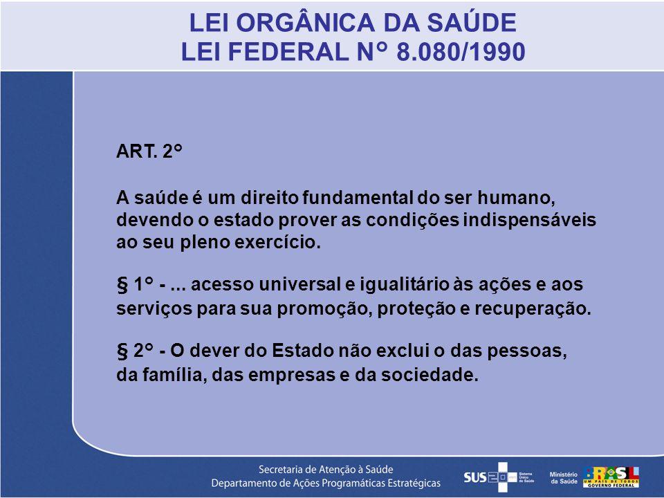 LEI ORGÂNICA DA SAÚDE LEI FEDERAL N° 8.080/1990
