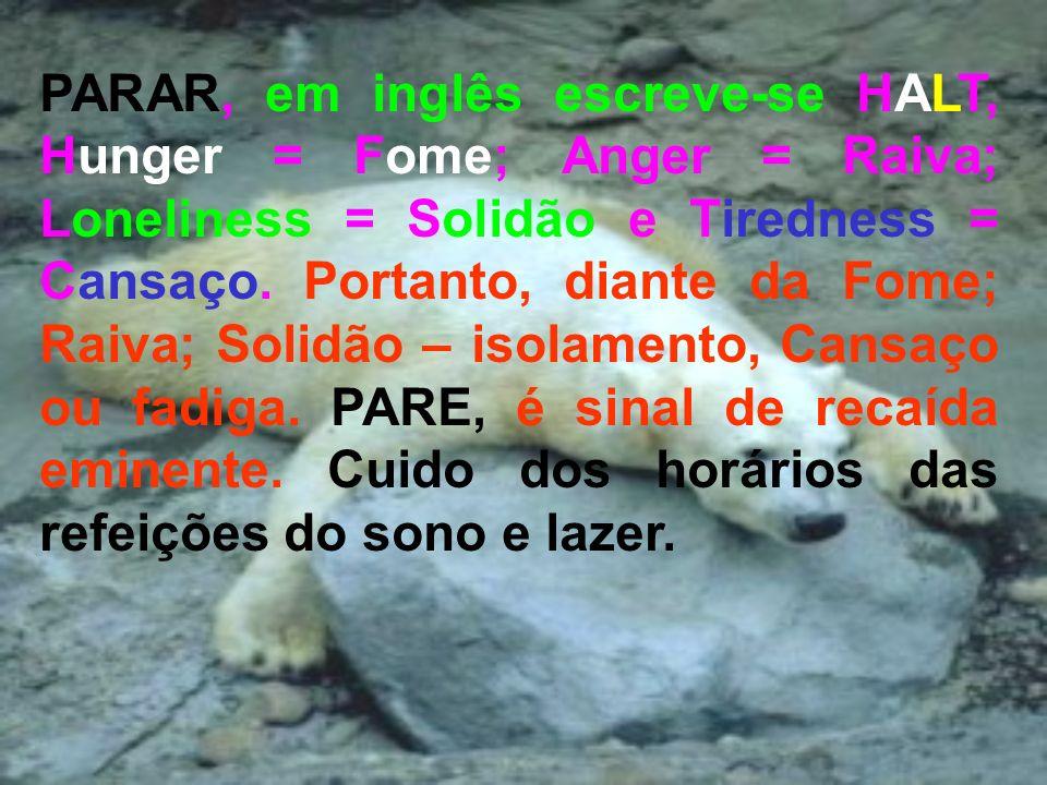 PARAR, em inglês escreve-se HALT, Hunger = Fome; Anger = Raiva; Loneliness = Solidão e Tiredness = Cansaço.