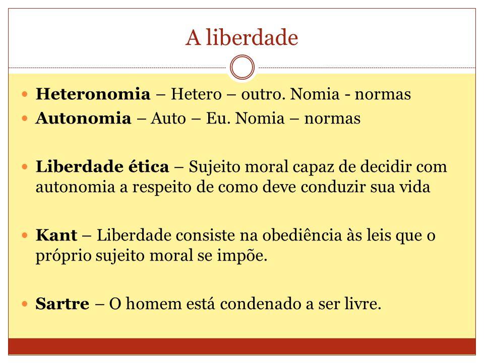 A liberdade Heteronomia – Hetero – outro. Nomia - normas