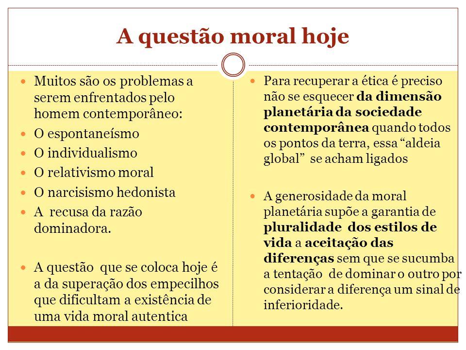 A questão moral hoje Muitos são os problemas a serem enfrentados pelo homem contemporâneo: O espontaneísmo.