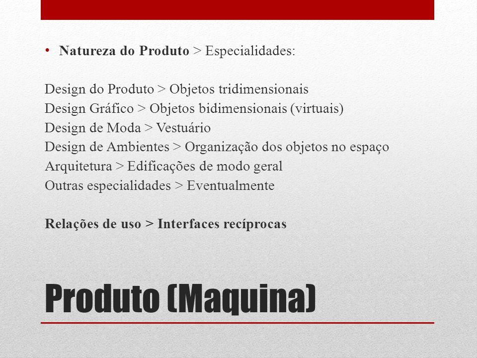 Produto (Maquina) Natureza do Produto > Especialidades: