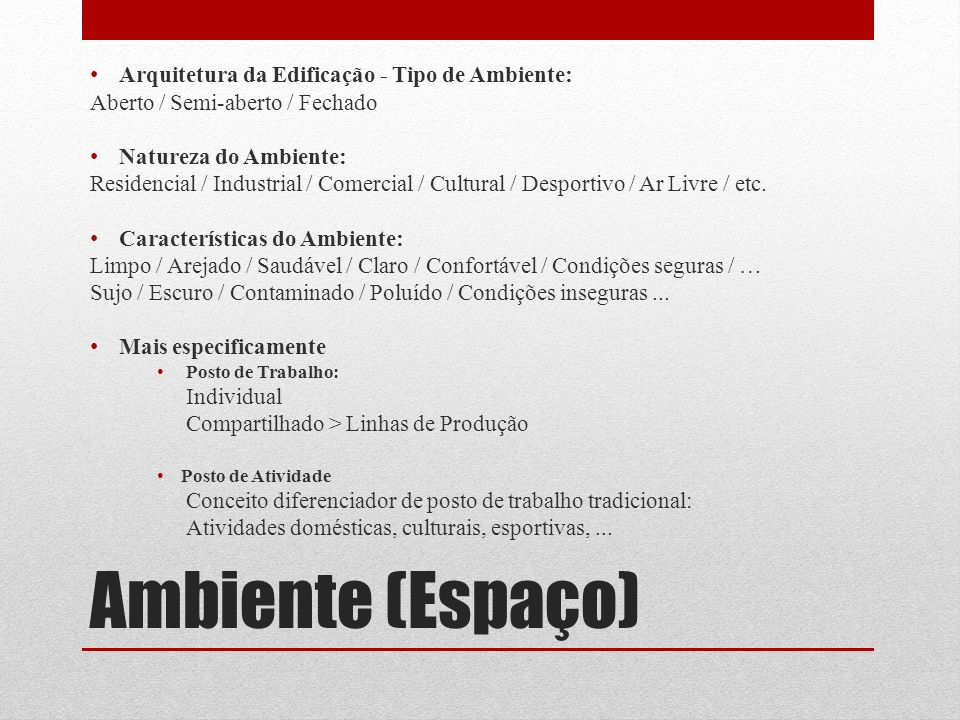 Ambiente (Espaço) Arquitetura da Edificação - Tipo de Ambiente: