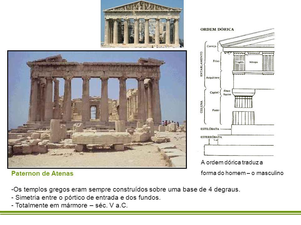 Os templos gregos eram sempre construídos sobre uma base de 4 degraus.