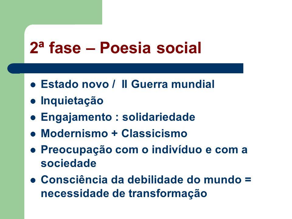 2ª fase – Poesia social Estado novo / II Guerra mundial Inquietação
