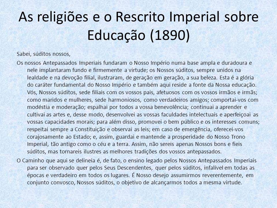 As religiões e o Rescrito Imperial sobre Educação (1890)