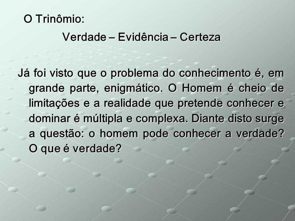 O Trinômio: Verdade – Evidência – Certeza.