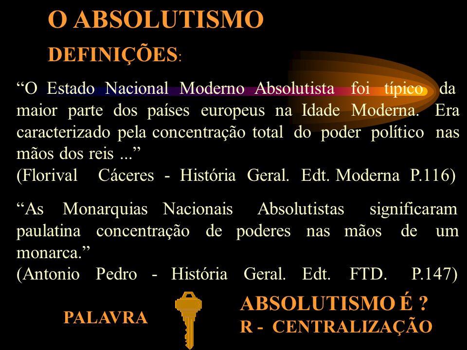 O ABSOLUTISMO DEFINIÇÕES: