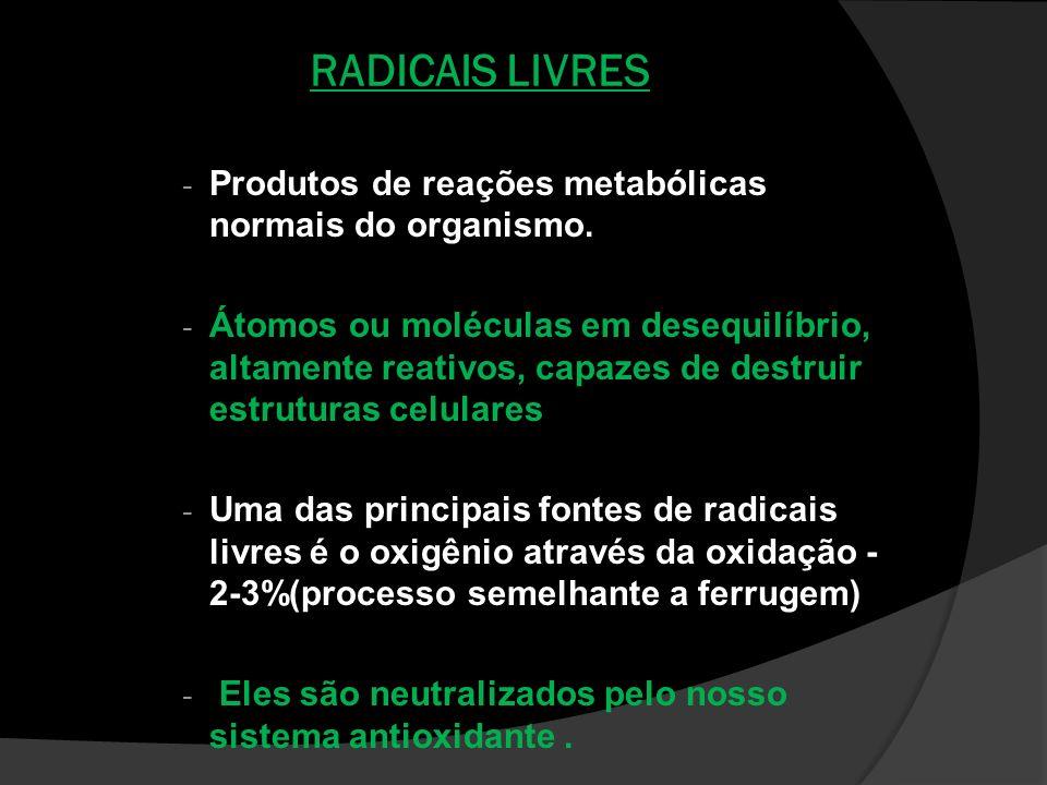 RADICAIS LIVRES Produtos de reações metabólicas normais do organismo.
