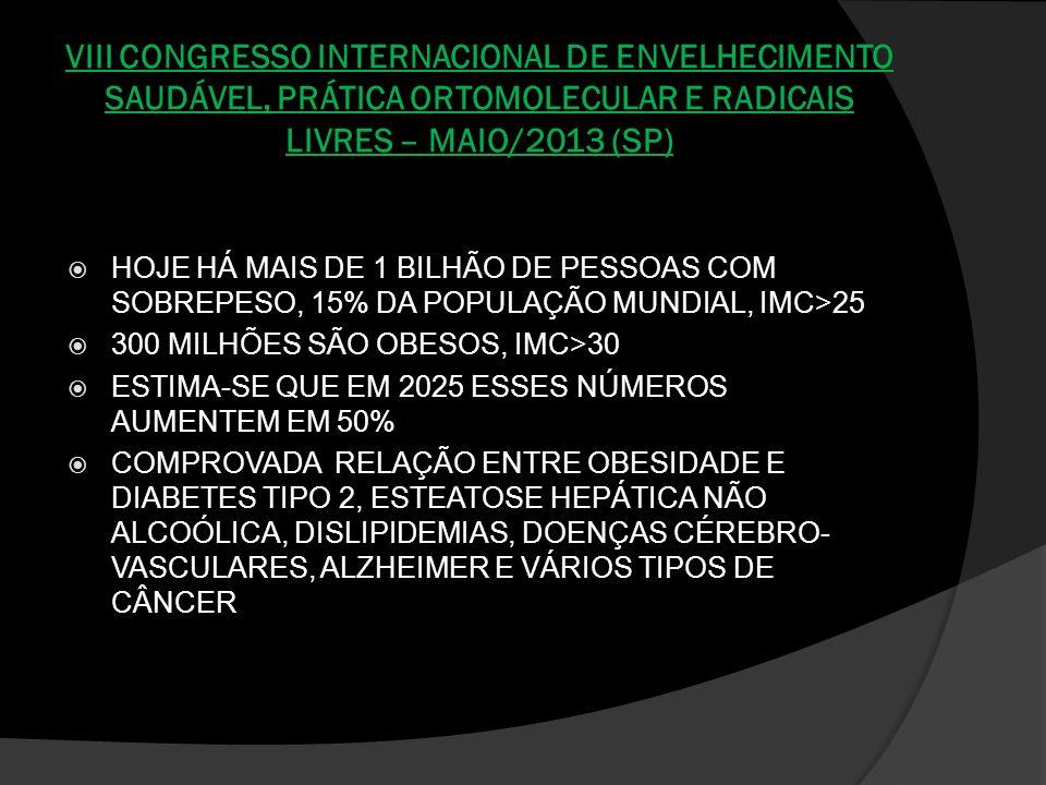 VIII CONGRESSO INTERNACIONAL DE ENVELHECIMENTO SAUDÁVEL, PRÁTICA ORTOMOLECULAR E RADICAIS LIVRES – MAIO/2013 (SP)