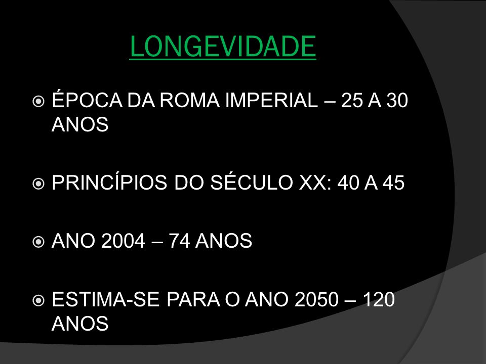 LONGEVIDADE ÉPOCA DA ROMA IMPERIAL – 25 A 30 ANOS