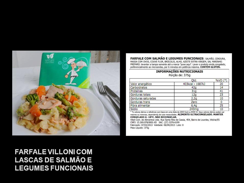 FARFALE VILLONI COM LASCAS DE SALMÃO E LEGUMES FUNCIONAIS
