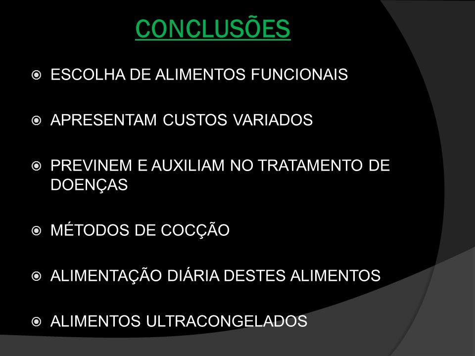 CONCLUSÕES ESCOLHA DE ALIMENTOS FUNCIONAIS APRESENTAM CUSTOS VARIADOS