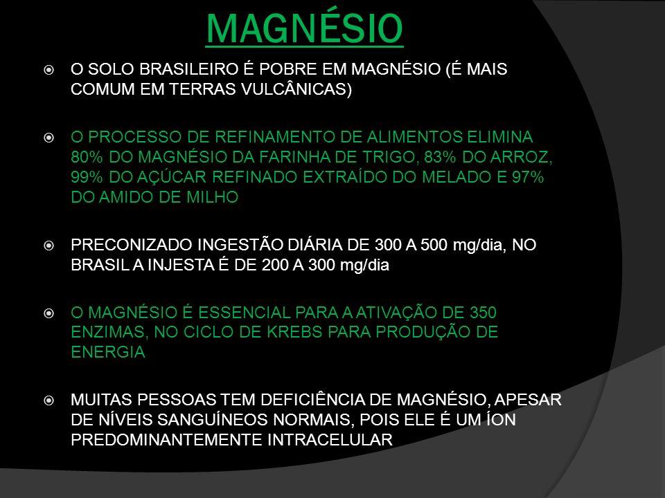 MAGNÉSIO O SOLO BRASILEIRO É POBRE EM MAGNÉSIO (É MAIS COMUM EM TERRAS VULCÂNICAS)