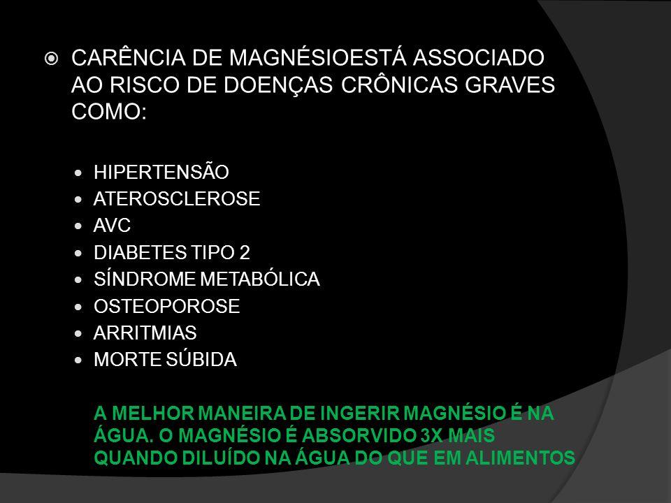 CARÊNCIA DE MAGNÉSIOESTÁ ASSOCIADO AO RISCO DE DOENÇAS CRÔNICAS GRAVES COMO: