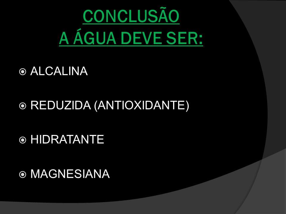 CONCLUSÃO A ÁGUA DEVE SER: