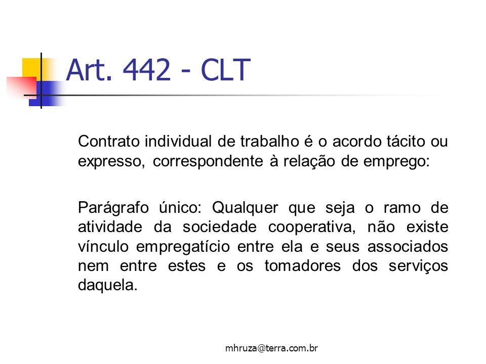 Art. 442 - CLT Contrato individual de trabalho é o acordo tácito ou expresso, correspondente à relação de emprego: