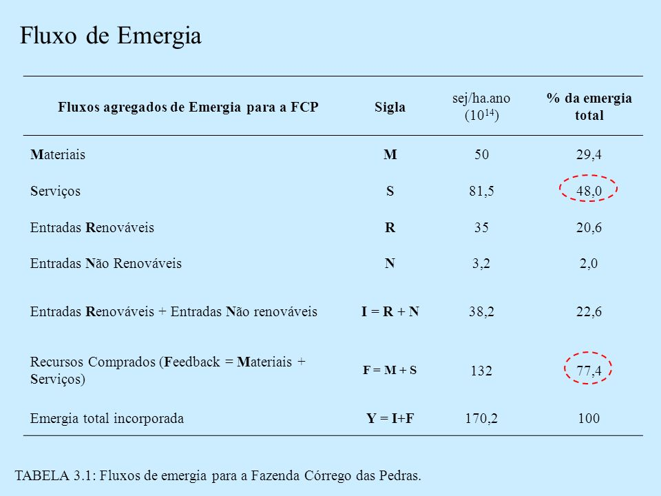 Fluxos agregados de Emergia para a FCP