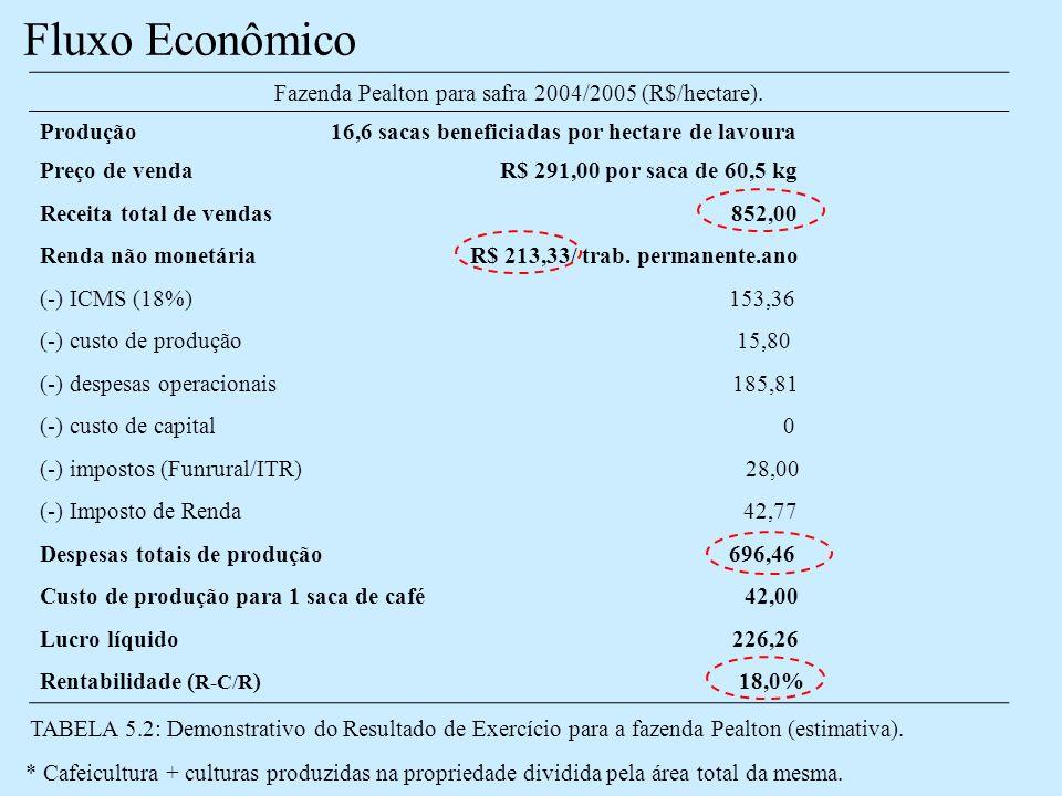 Fazenda Pealton para safra 2004/2005 (R$/hectare).